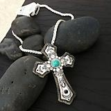 Antiqued Silver Cross with Turquoise Accent