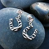 Rhinestone Zebra Horseshoe Earrings