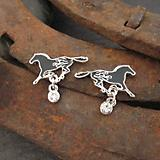 Firey Horse Earrings Black