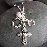 Cross Charm Cluster Necklace