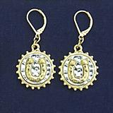 Hammered Circle with Horseshoe Earrings