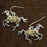 Gold and Silver Swirling Horse Earrings