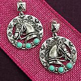 Hammered Silver and Turquoise Horse Earrings