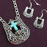 Turquoise Cross Buckle Necklace and Earrings Set