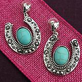 Hammered Silver and Turquoise Horseshoe Earrings