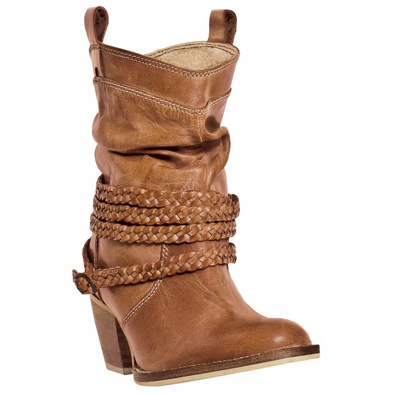 Dingo Ladies Twisted Sister Round Toe Tan Boots