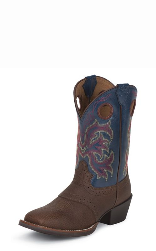 Justin Junior Stampede Sq Toe Dusty Blue Boots