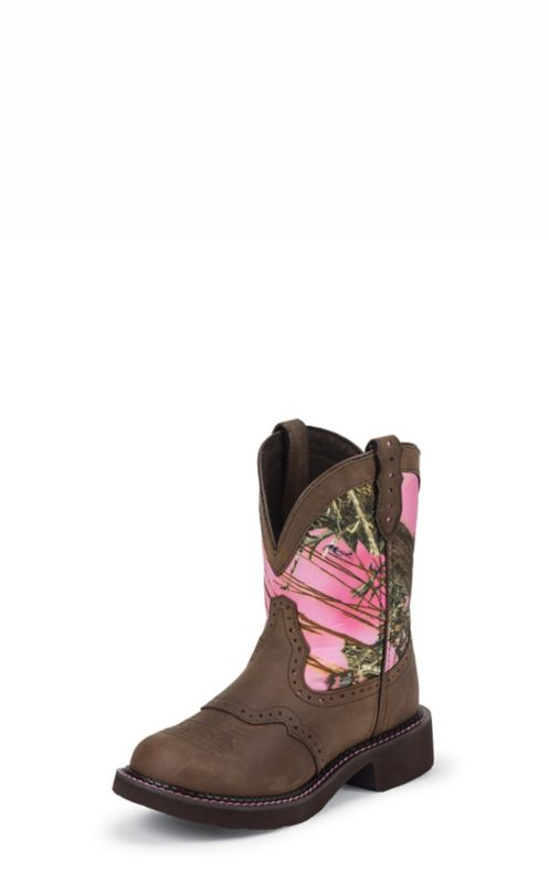 Justin Ladies Gypsy Rnd 8in Pink Camo Boots