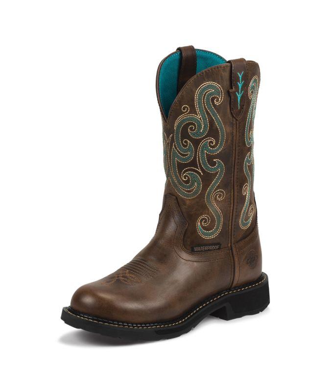 Justin Ladies Gypsy Rnd 11in Choc Chip Boots