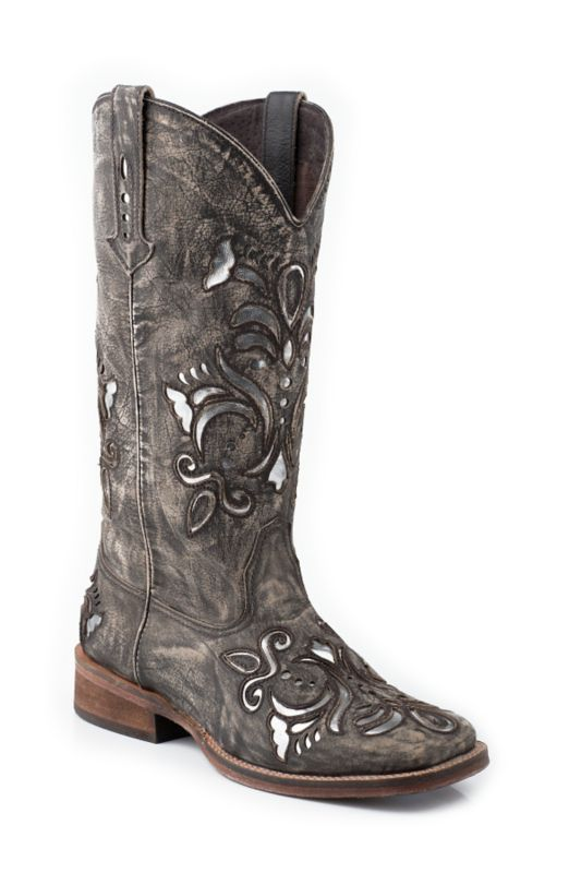 Roper Ladies Square Toe Metallic Silver Boots