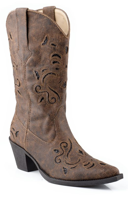 Roper Ladies Snip Glitter Underlay Brown Boots