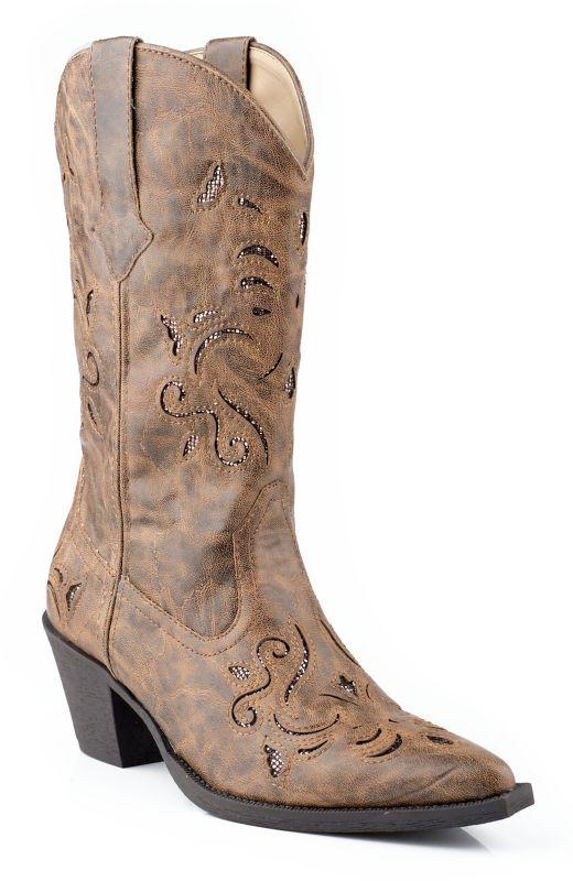 Roper Ladies Snip Glitter Underlay Tan Boots