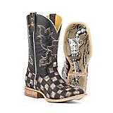Tin Haul Mens Gunmetal Check Square Toe Boots