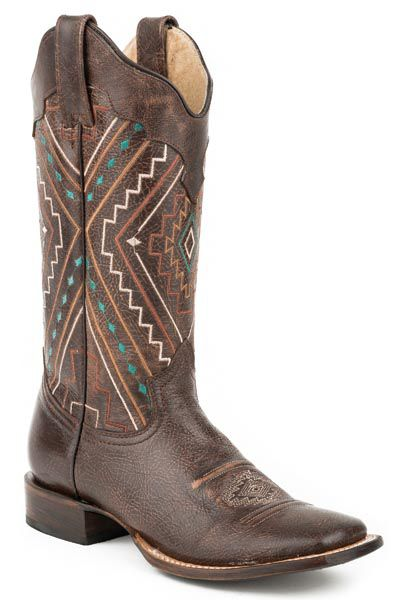 Image of Roper Ladies Southwest Square Toe Brown Boots 9.5