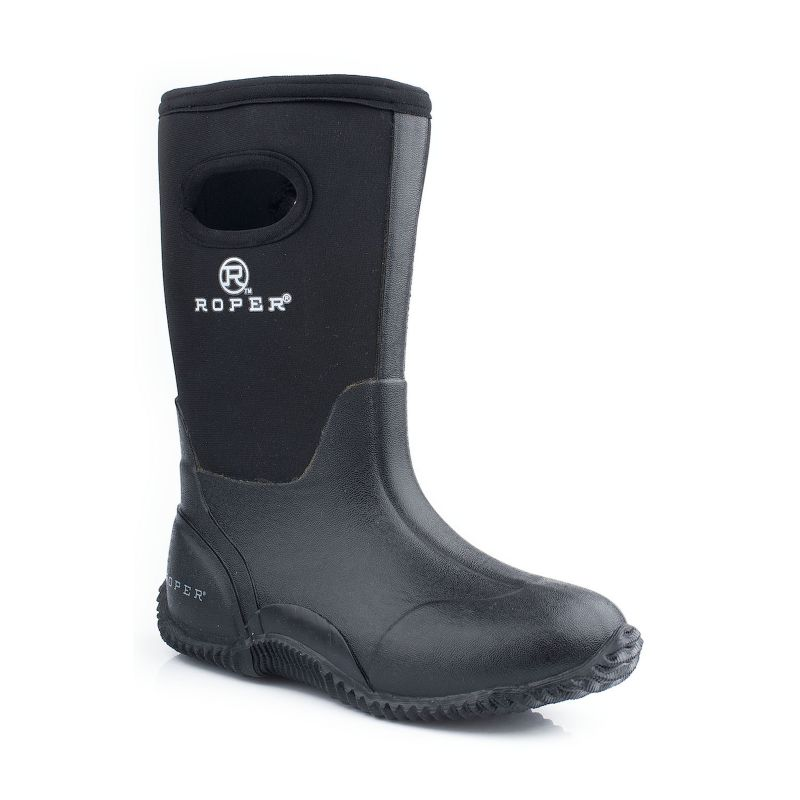 Roper Big Kids Barnyard Black Rubber Boots