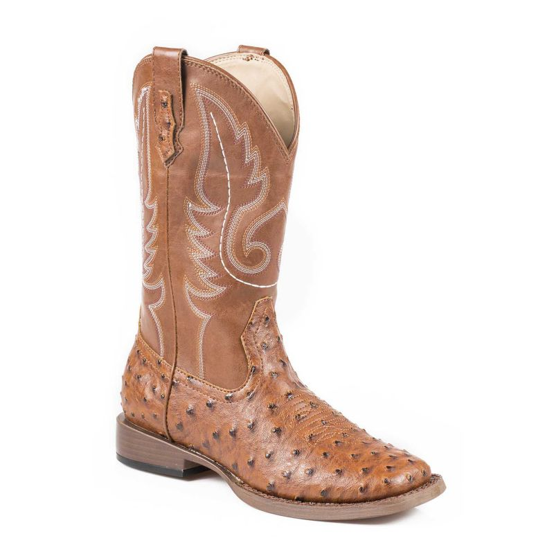 Roper Youth Bumps Square Toe Tan Boots