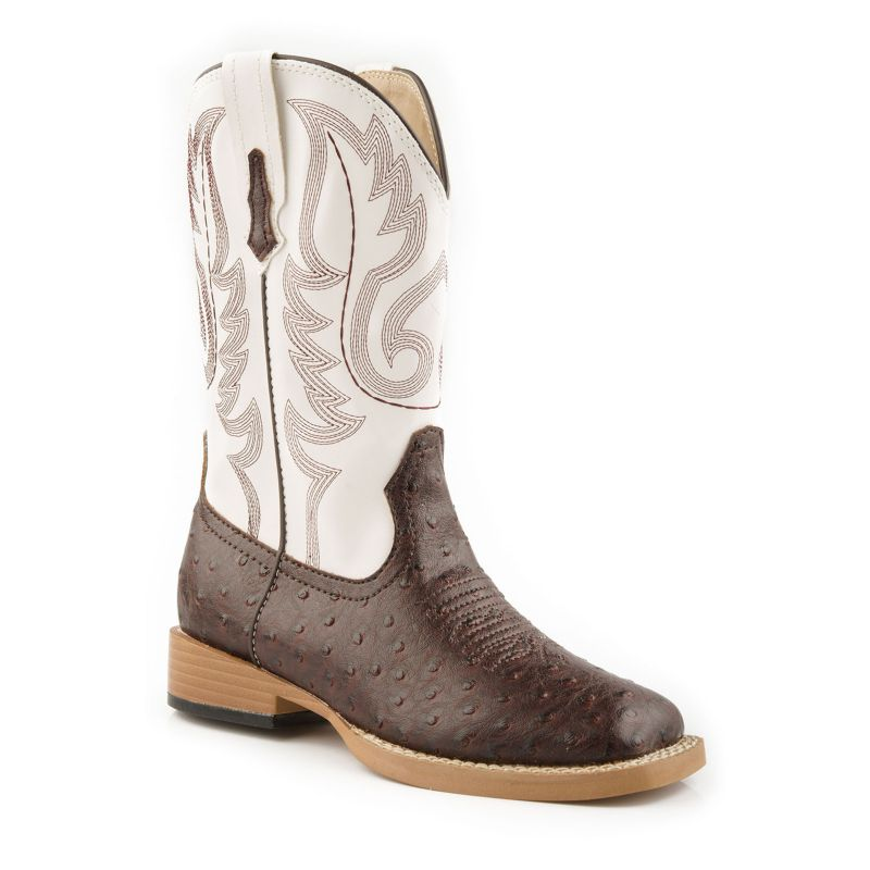 Roper Youth Bumps Square Toe Brown/White Boots