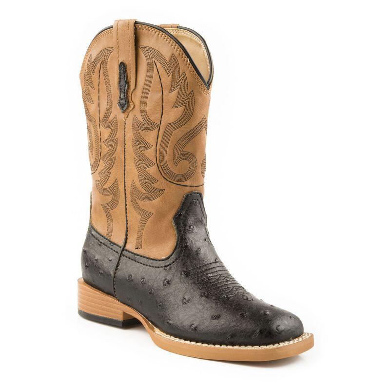 Roper Youth Bumps Square Toe Black/Tan Boots