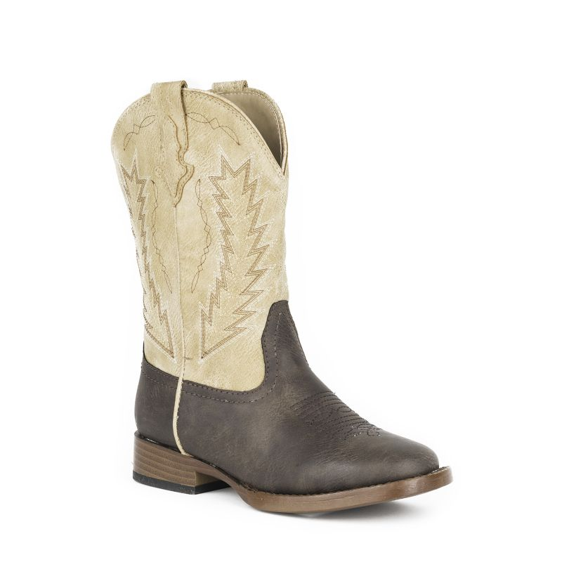 Roper Youth Arrow Square Toe Brown/Tan Boots