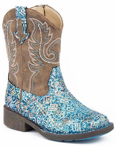 Roper Childrens Glitter Aztec Rnd Blue Boots
