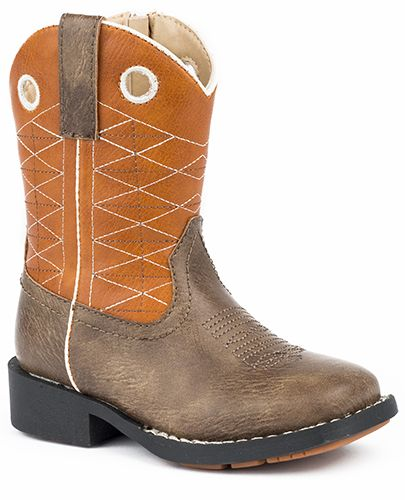 Roper Childrens Boone Round Toe Orange Boots