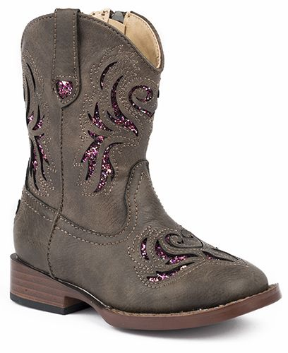 Roper Childrens Glitter Breeze Rnd Brown Boots