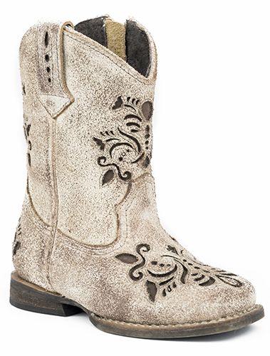 Roper Childrens Belle Rnd Toe Sanded Brown Boots
