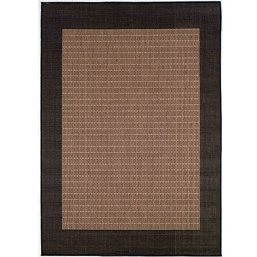 Recife Rug Check Field Cocoa-Black Rug 90in Square