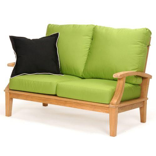 Sophia Teak Loveseat Cushions Dupione Bamboo