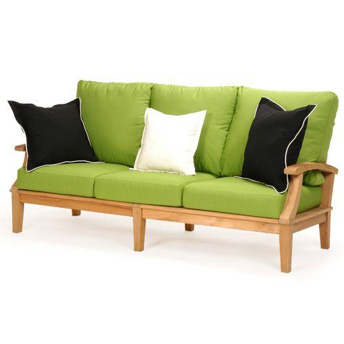 Sophia Teak Sofa Cushions Linen Chili