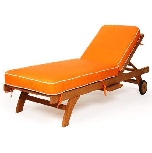 Teak Single Chaise Cushions Canvas Buttercup