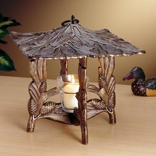 French Bronze Pinecone Twilight Lantern