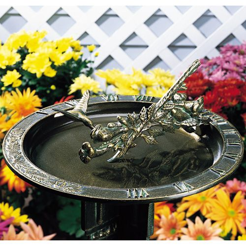 Weathered Bronze Hummingbird Sundial Birdbath