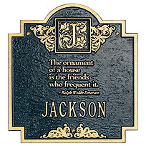 Emerson Plaque Black-Gold Letters