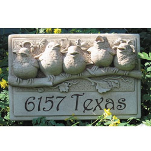 Concrete Garden Plaque Engraved Hummingbird