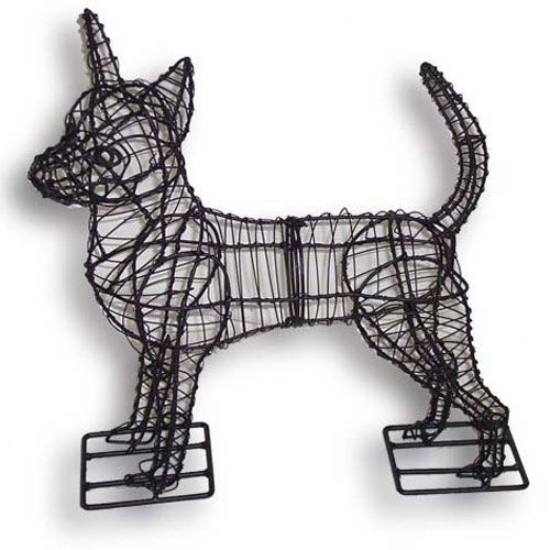 Green piece wire art chihuahua topiary lights dog home for Dog wire art