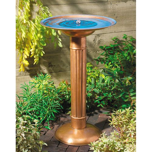 Verona Copper Solar Birdbath Brushed Finish