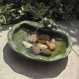Solar Ceramic Frog Fountain Glazed Green