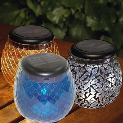 Glass Mosaic Solar T-Light Obsidian Blk Mirror
