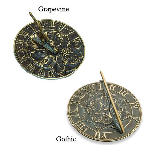 Old World Brass Sundial Grapevine