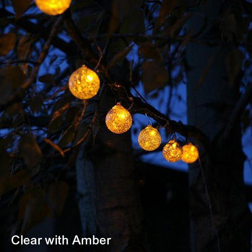 Aurora Glow Solar String Light Clear w/Amber LED