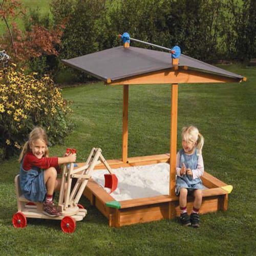 Children's Sandbox Natural with Brown Awning