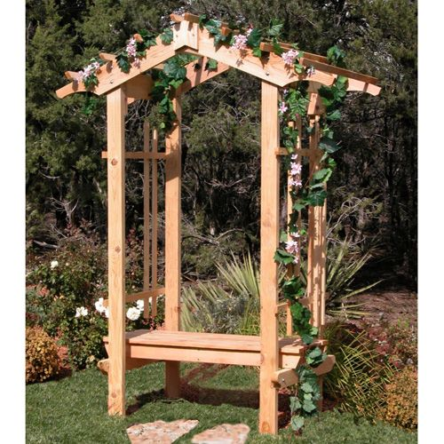 country garden cedar arbor with bench 4 foot