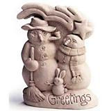 Cool Greeting Snowman Plaque Statue