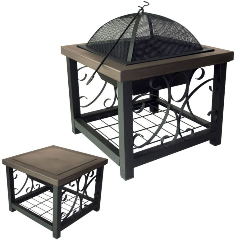 Square Old World Bronze Fire Pit