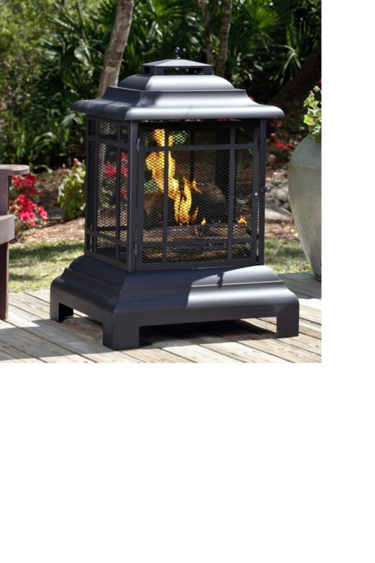 Black Powder Coated Steel Pagoda Patio Fireplace