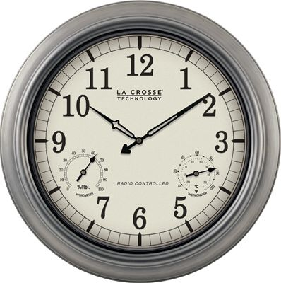 click for Full Info on this Outdoor Atomic Clock 18 Inch Pewter
