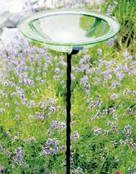 Crackle Glass Birdbath Green