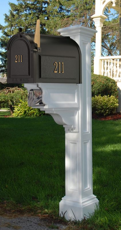 Charleston Plus Mailbox Post White