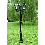 Double Solar Lamp Post Black Finish
